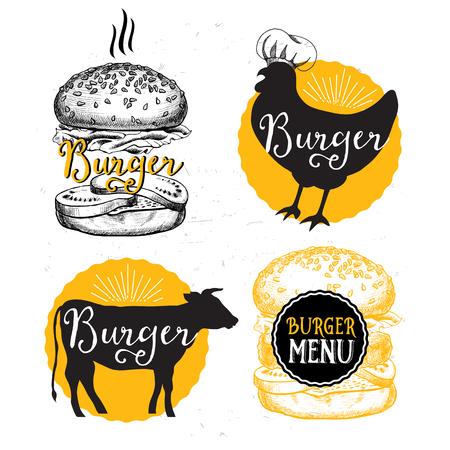 HAMBURGUESA: folleto del restaurante, diseño del menú.