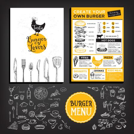 Yiyecek menüsü, restoran şablon tasarımı. Çizim