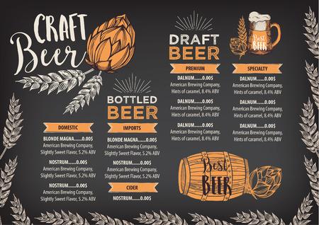 wood craft: Beer restaurant brochure vector