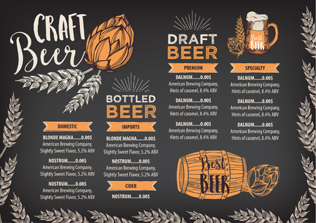 Piwo restauracja broszura wektorowe