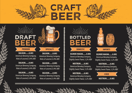 wood craft: Beer restaurant brochure vector, alcohol menu design. Vector bar template with hand-drawn graphic. Beer flyer.