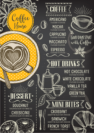 Coffee restaurant brochure vector, coffee shop menu design. Vettoriali