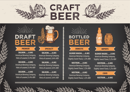 beer in bar: Beer restaurant brochure vector, alcohol menu design. Vector bar template with hand-drawn graphic. Beer flyer.