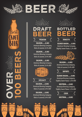 Bier restaurant brochure vector, alcohol menu design. Vector bar template met de hand getekende afbeelding. Beer flyer.