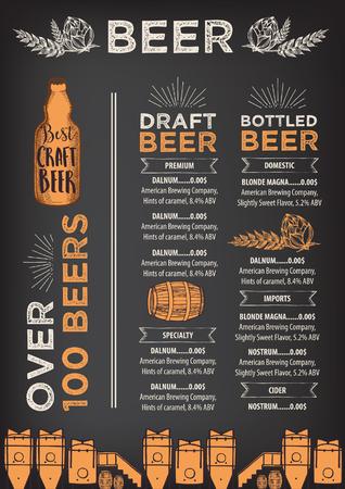 Restaurante de la cerveza vector de folletos, diseño de menú de alcohol. plantilla vector de la barra con el gráfico dibujado a mano. volante cerveza.