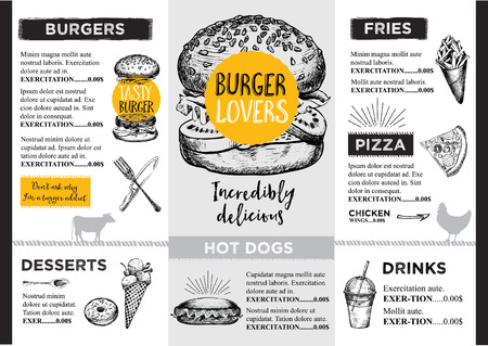 burger and fries: Restaurant brochure vector, menu design.