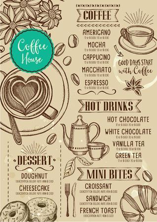Coffee restaurant brochure vector, coffee shop menu design. 일러스트