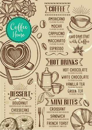 Coffee restaurant brochure vector, coffee shop menu design. Иллюстрация
