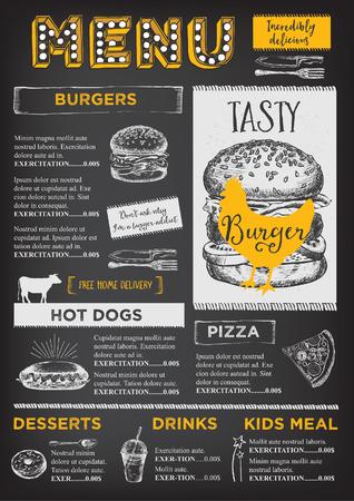 Restaurante folleto del vector, diseño del menú. plantilla de café del vector con el gráfico dibujado a mano. volante de alimentos.