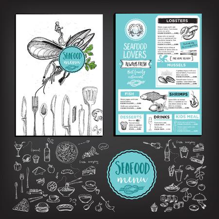 brochure ristorante di pesce, menu design.
