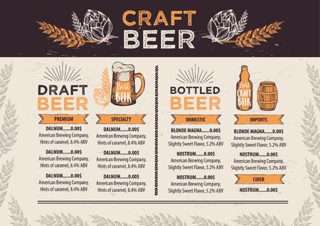 Pivnice brožura vektoru, menu konstrukce alkohol.
