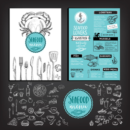grilled fish: Seafood restaurant brochure, menu design. Illustration