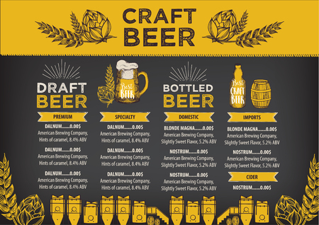 Beer restaurant brochure vector, alcohol menu design. Vettoriali