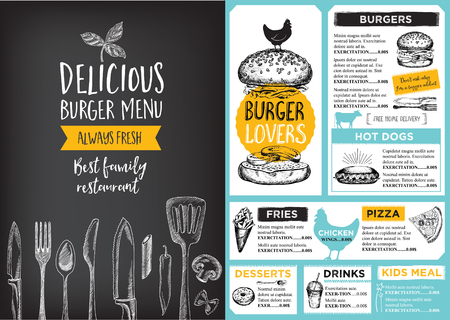 chicken sandwich: Restaurante folleto del vector, diseño del menú.