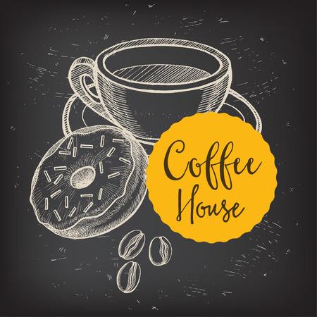 cups of coffee: Coffee restaurant brochure vector, coffee shop menu design. Illustration