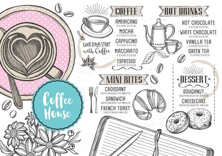 コーヒー レストラン パンフレット ベクトル、コーヒー ショップのメニューのデザイン。