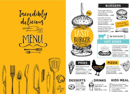 レストラン パンフレット ベクトル、メニュー デザイン。  イラスト・ベクター素材