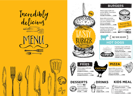 dinner: Restaurant brochure vector, menu design.