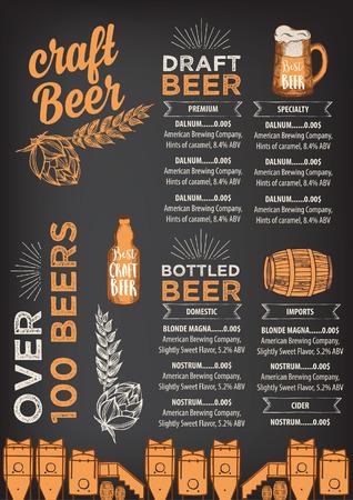 Restaurante de la cerveza vector de folletos, diseño de menú de alcohol.