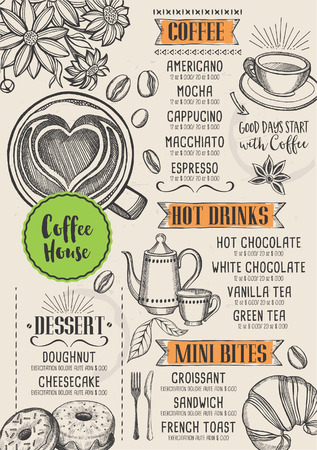 Coffee restaurant brochure vector, coffee shop menu design. Ilustracja