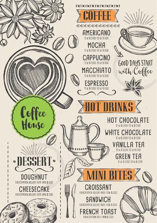 Coffee restaurant brochure vector, coffee shop menu design. Illustration