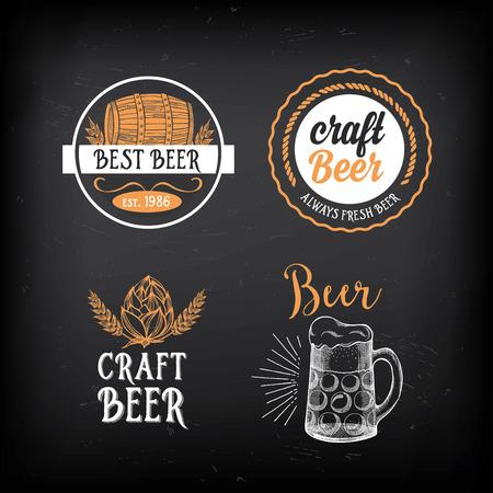 Beer restaurant badges vector, alcohol menu design.