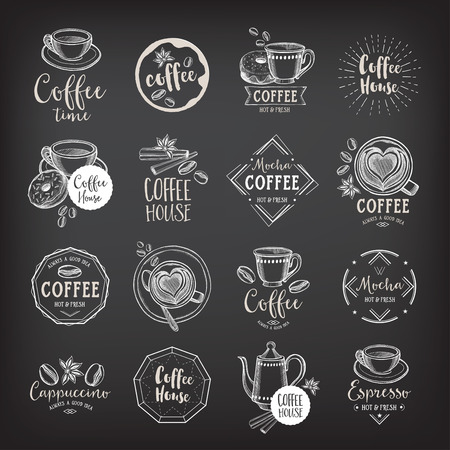 drinking coffee: Coffee menu restaurant badges, coffee shop menu.