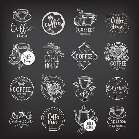 capuchinos: Insignias de café del menú del restaurante, menú de cafetería.