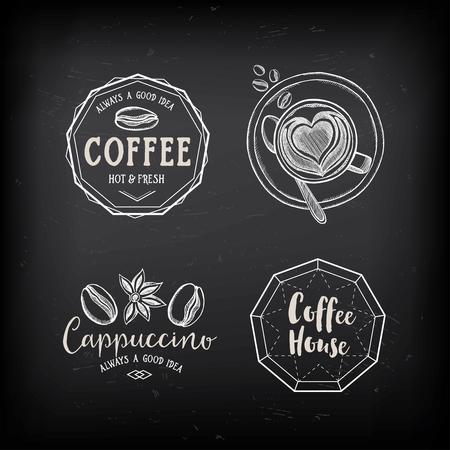 chicchi di caff?: Caffè distintivi menu del ristorante, menu di coffee shop. Vettoriali