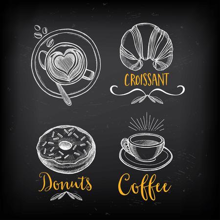 コーヒーと甘いメニュー レストラン バッジ、デザート メニュー。