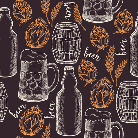 brew: Beer seamless pattern background vector.