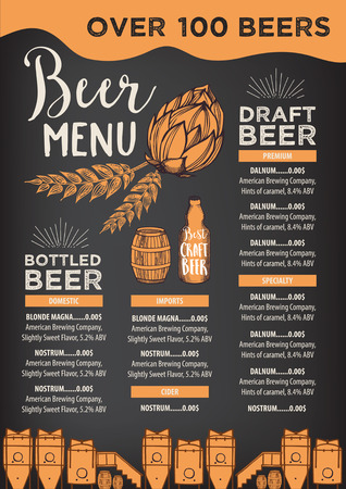 Beer restaurant brochure vector, alcohol menu design. Vector bar template with hand-drawn graphic. Beer flyer.