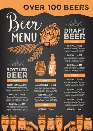 Restaurante de la cerveza vector de folletos, diseño de menú de alcohol. plantilla vector de la barra con el gráfico dibujado a mano. volante cerveza. Ilustración de vector