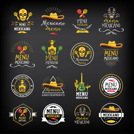 Mexican food menu restaurant badges. Food design icons with hand-drawing elements. Graphic labels for restaurant template. Illustration