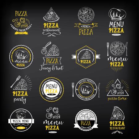 insignias del menú del restaurante de pizza