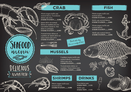 Seafood restaurant brochure, menu design. Illustration