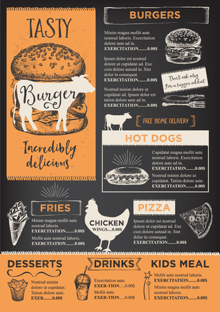 hamburgers: Restaurant brochure vector, menu design. Vector cafe template with hand-drawn graphic. Food flyer. Illustration