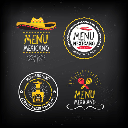 food and drinks: Mexican food menu restaurant badges. Illustration