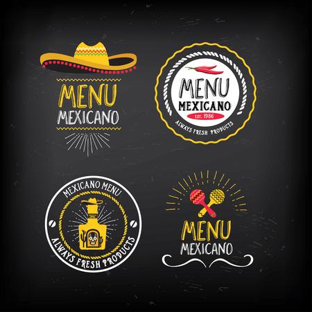 alimentos y bebidas: Mexicana insignias restaurante menú de comida.