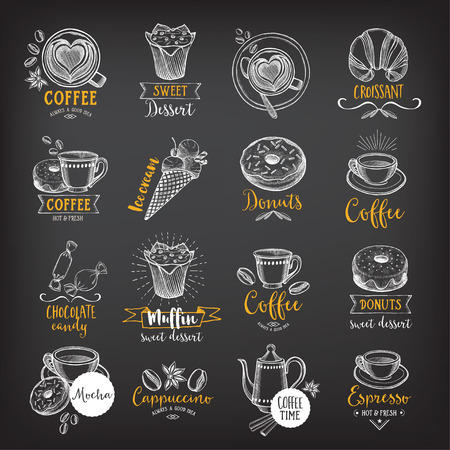 Coffee and sweet menu restaurant badges, dessert menu. Food design icons with hand-drawing elements. Graphic labels for restaurant template. Ilustração