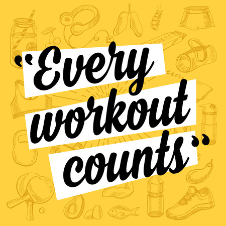 gym workout: Fitness motivation quote poster.