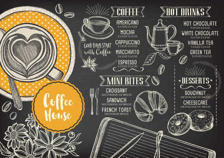 graphic icon: Coffee restaurant brochure vector, coffee shop menu design. Illustration
