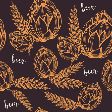 beer party: Beer seamless pattern background vector.