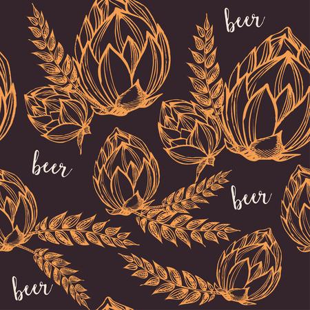 Cerveza sin fisuras patrón de vectores de fondo.