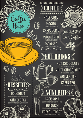 Coffee restaurant brochure vector, coffee shop menu design. Vectores