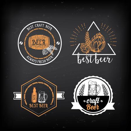 beverage: Beer restaurant badges vector, alcohol menu design.