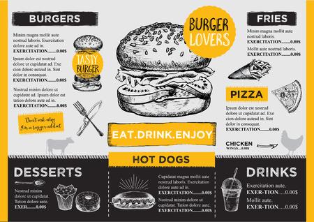 HAMBURGUESA: Restaurante folleto del vector, diseño del menú.