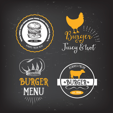 chicken sandwich: insignias del menú del restaurante de Burger