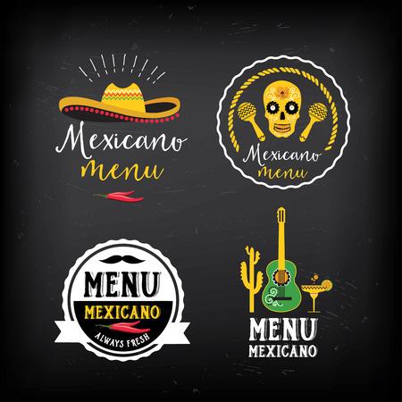 Mexican food menu restaurant badges.