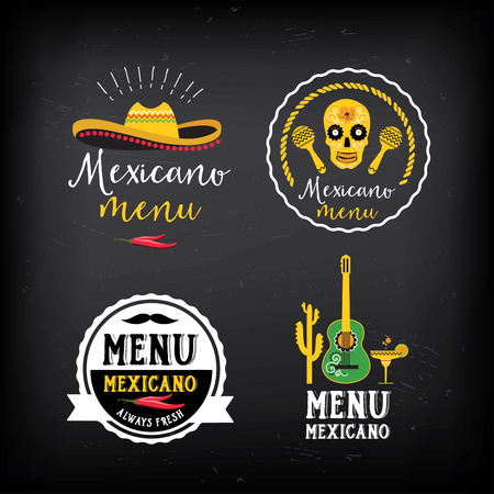 mexicans: Mexican food menu restaurant badges. Illustration
